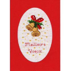Kit Carte de Voeux Cloches de Noël Carte Coloris Rouge Point de Croix Comptés