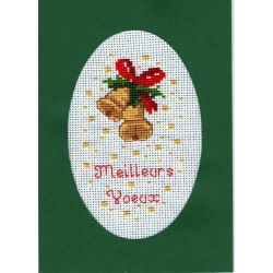 Kit Carte de Voeux Cloches de Noël Carte Coloris Vert Point de Croix Comptés