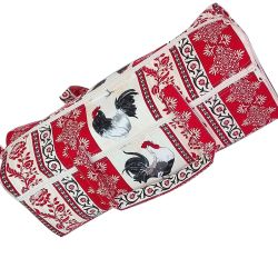 Sac Tricot Coq Coloris Rouge et Ecru Rangement Baluchon