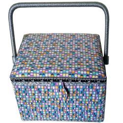 Boite à Couture avec casier de rangement Petits Pois Multicolores 19 x 26 cm