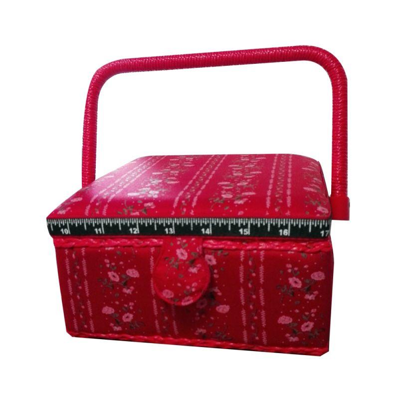 Boite à Couture avec casier de rangement Motif Petites Fleurs Fond Rouge 20 x 20 cm