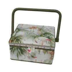 Boite à Couture avec casier de rangement Motif Flamants Roses et Roseaux 20 x 20 cm