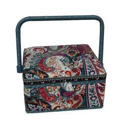 Boite à Couture avec casier de rangement Motif Fleurs et Arabesques 20 x 20 cm