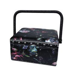 Boite à Couture avec casier de rangement Motif Fleurs Ephémères Fond noir 20 x 20 cm