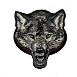 Patch Ecusson Thermocollant Tête de Loup 9 x 10 cm