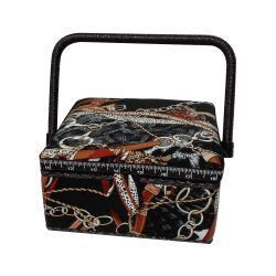 Boite à Couture avec casier de rangement Cheval Mors Equitation 20 x 20 cm