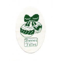 Kit Carte de Voeux Boules de Noël Carte Coloris Blanc Point de Croix Comptés