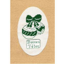 Kit Carte de Voeux Boules de Noël Carte Coloris Doré Point de Croix Comptés