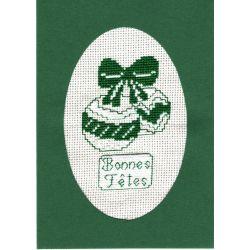 Kit Carte de Voeux Boules de Noël Carte Coloris Vert Point de Croix Comptés