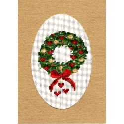 Kit Carte de Voeux Couronne de Noël Carte Coloris Doré Point de Croix Comptés