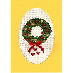 Kit Carte de Voeux Couronne de Noël Carte Coloris Jaune Point de Croix Comptés