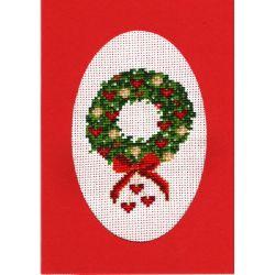 Kit Carte de Voeux Couronne de Noël Carte Coloris Rouge Point de Croix Comptés