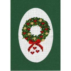 Kit Carte de Voeux Couronne de Noël Carte Coloris Vert Point de Croix Comptés