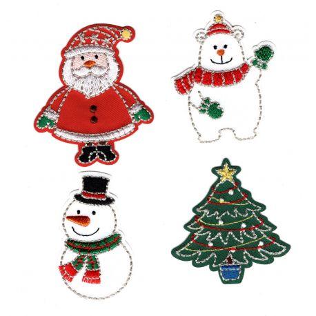 Patch Ecusson Thermocollant 4 x Sujets de Noël Sapin Ours Père Noel Bonhomme de Neige 5 x 6 cm