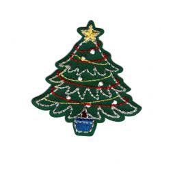 Patch Ecusson Thermocollant Sapin de Noël 5 x 5,50 cm