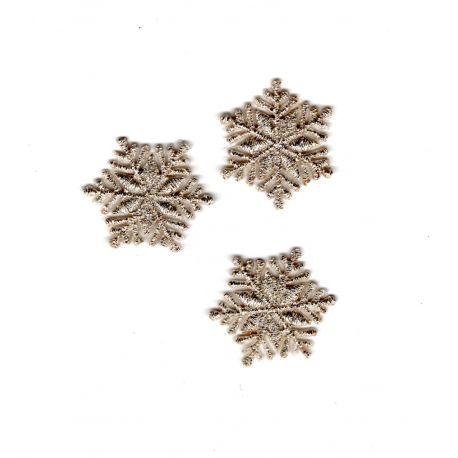 Patch Ecusson Thermocollant 3 x Flocon de Neige Coloris Argenté 2 x 2 cm