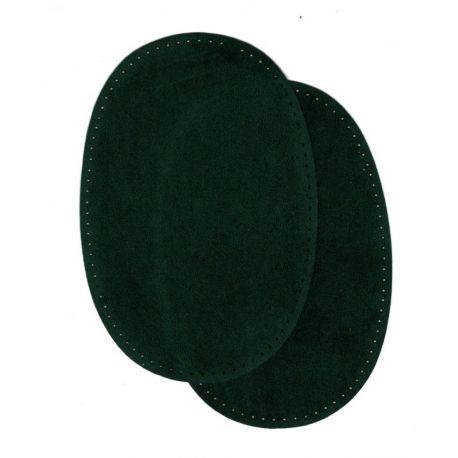 2 Renforts coude Genou à Coudre Coloris Vert Sapin Imitation Daim 9,20 x 13,50 thermocollant provisoire