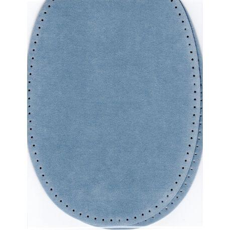 2 Renforts coude Genou à Coudre Coloris Bleu Clair Imitation Daim 9,20 x 13,50 thermocollant provisoire