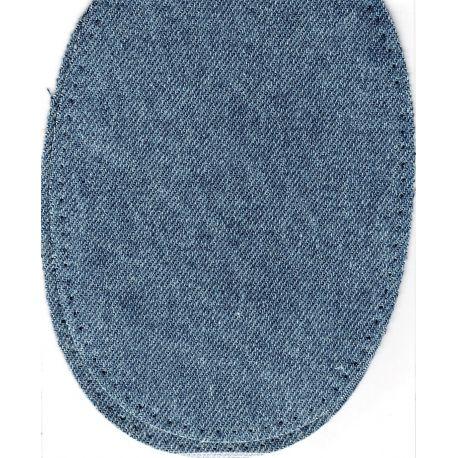 2 Renforts coude Genou à Coudre Coloris Jeans Bleu délavé 9,20 x 13,50 thermocollant provisoire