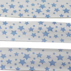Ruban Biais Replié 27 mm Coton Etoiles Coloris Bleu Clair Vendu par 4,95 Mètres
