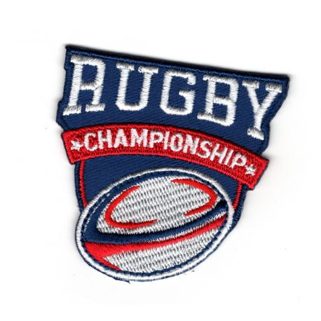 Patch Ecusson Thermocollant Rugby Championship fond bleu 5 x 5 cm