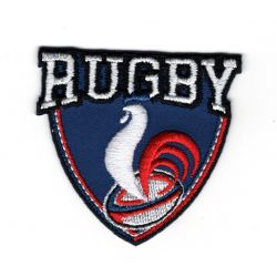 Patch Ecusson Thermocollant Rugby Coq France 5 x 5 cm
