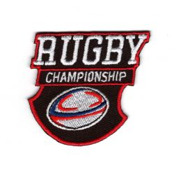 Patch Ecusson Thermocollant Rugby Championship fond marron 5 x 5 cm
