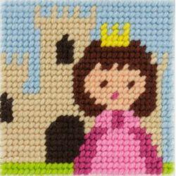 Kit Canevas complet Un jour je serai Princesse 15 x 15 Enfant gros trous