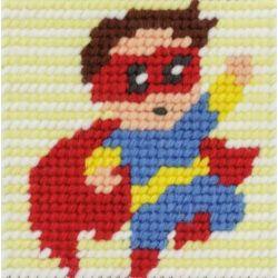 Kit Canevas complet Roro le super héros 15 x 15 Enfant gros trous