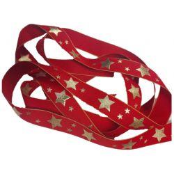 Ruban polyester 25 mm Etoiles fond rouge vendu par 3 mètres