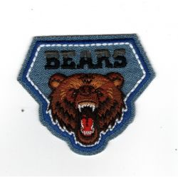 Patch Ecusson Thermocollant Blason Jeans Ours Bear 5 x 6 cm