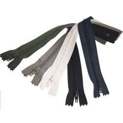 5 Fermetures Eclair Fine Polyester Spirale 30 cm Coloris Noir Blanc Marine Kaki Gris Pochette Coussin Jupe
