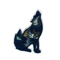 Patch Ecusson Thermocollant Loup wolf Lurex Boréal 4 x 7 cm