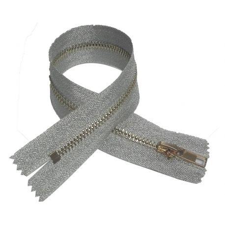 Fermeture Eclair Coloris Argent 30 cm Non Séparable Ouvrable maille métal 5 mm largeur 3 cm pantalon jeans