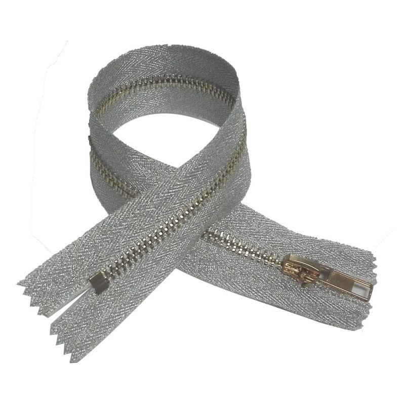 Fermeture éclair métal 30 cm long 5 mm non sécables-Beige-Neuf 99-29