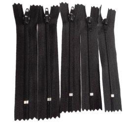 5 x Fermeture Eclair fine spirale polyester 10 cm Coloris Noir