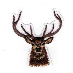 Patch Ecusson Thermocollant Tête de Cerf Renne 6 x 6,50 cm