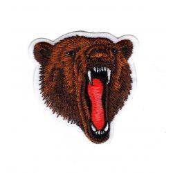 Patch Ecusson Thermocollant Tête de Grizzli Ours 5 x 5 cm