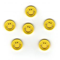 6 x Bouton Smile Jaune Plastique 15 mm