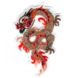 Patch Ecusson Thermocollant Dragon de feu chinois coloris beige orange 5 x 8 cm