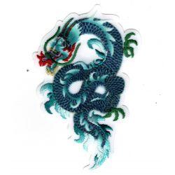 Patch Ecusson Thermocollant Dragon de feu chinois coloris bleu vert 5 x 8 cm