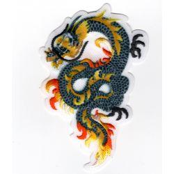 Patch Ecusson Thermocollant Dragon de feu chinois coloris kaki jaune 5 x 8 cm