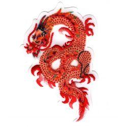 Patch Ecusson Thermocollant Dragon de feu chinois coloris rouge orange 5 x 8 cm