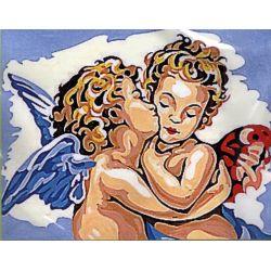 Kit Canevas Ange Cherubin B 14 x 18 cm Pénélope Blanc Petits Trous