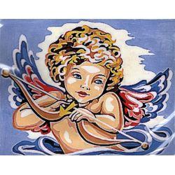 Kit Canevas Ange Cherubin C 14 x 18 cm Pénélope Blanc Petits Trous