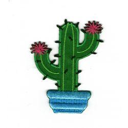 Patch Ecusson Thermocollant Cactus fleuri 5 x 7 cm