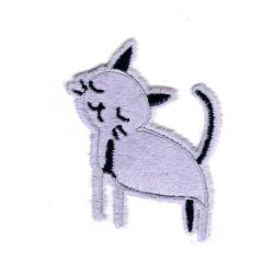 Patch Ecusson Thermocollant Chat tout doux coloris mauve 6 x 6,50 cm