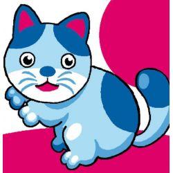 Kit Canevas complet Chat bleu 15 x 15 Enfant gros trous