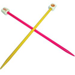 1 paire d' aiguilles à tricoter taille 5 pour enfant 18 cm de long en plastique sourire