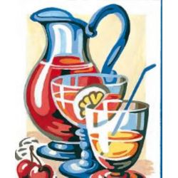 Kit Canevas Pichet de limonade 14 x 18 cm Pénélope Blanc Petits Trous